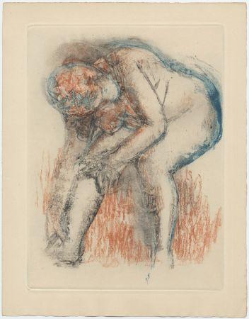 Aguafuerte Y Aguatinta Degas - Étude de nu se massant la cheville (vers 1896)