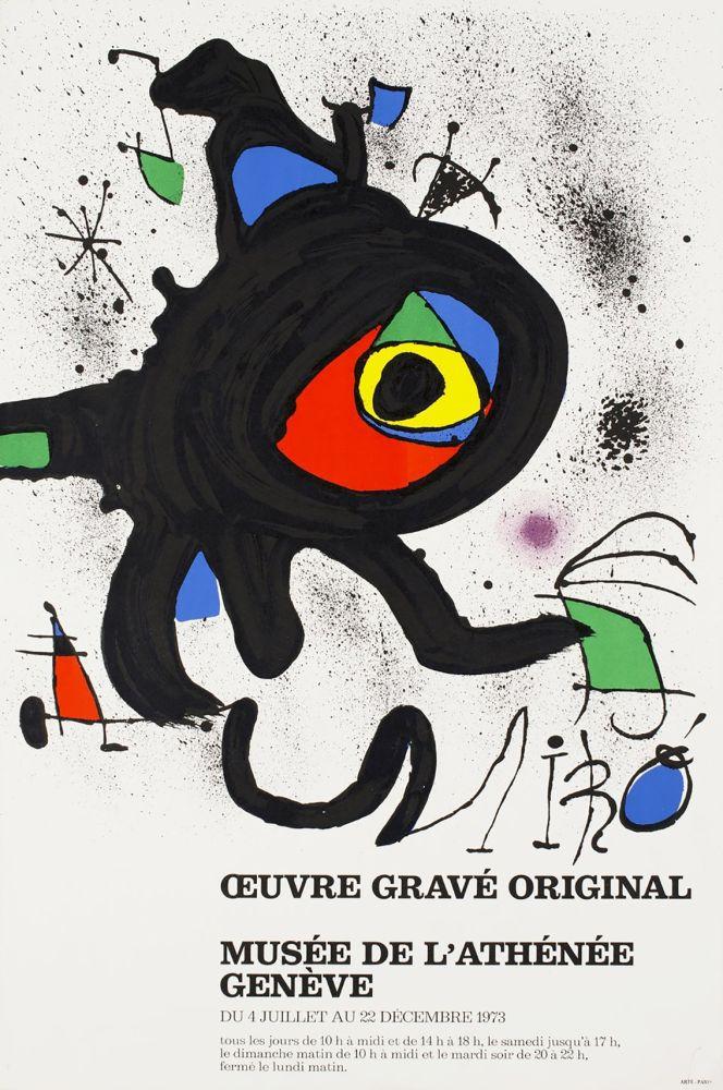 Cartel Miró - ŒUVRE GRAVÉ ORIGINAL. MUSÉE DE L'ATHÉNÉE, GENÈVE 1973. Affiche originale.