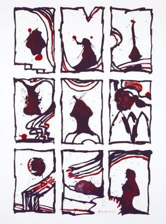 Litografía Alechinsky - 3 x 3