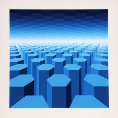 Serigrafía Yvaral - 50 Shades of Blue