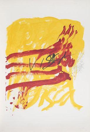 Litografía Tàpies - 7 from Als Mestres de Catalunya