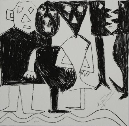 Litografía Ionesco - A bord de la nef
