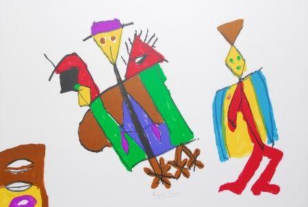 Litografía Ionesco - A bord de la nef des fous
