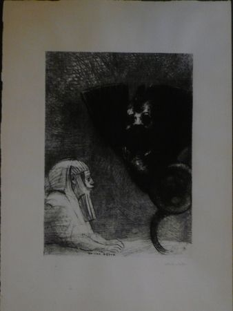 Litografía Redon - A Gustave Flaubert,le sphinx