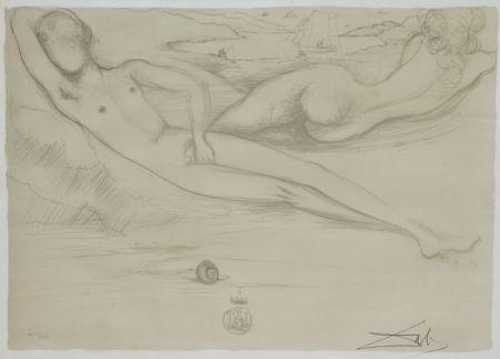 Litografía Dali - A la Plage from the Nudes Suite