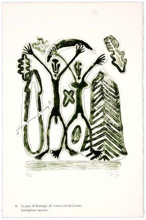 Litografía Nørgaard - A. Le parc de Kurangsi, de l'autre côté de la terre, inscriptions rupestres