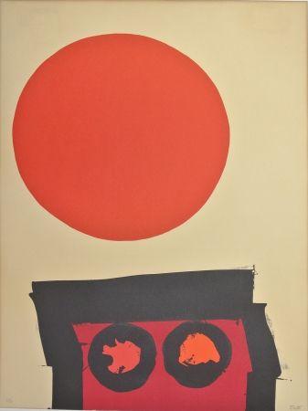 Litografía Feito - Abstraccion en rojo y negro