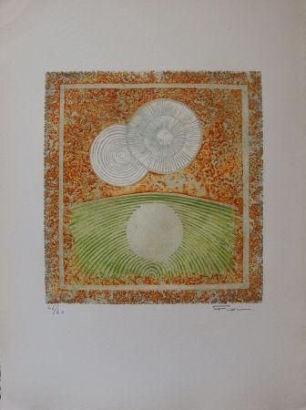 Aguafuerte Y Aguatinta Fiorini - Abstraction aux deux soleils