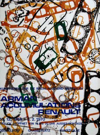 Litografía Arman - '' Accumulations Renault ''  -  Dusseldorf