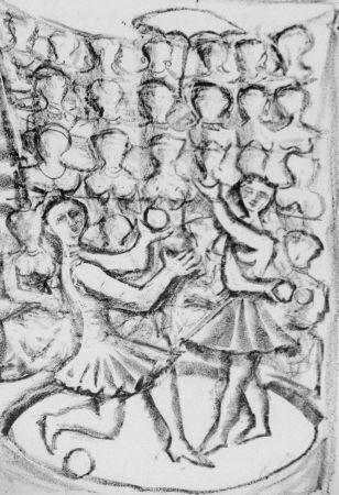 Litografía Campigli - Acrobati