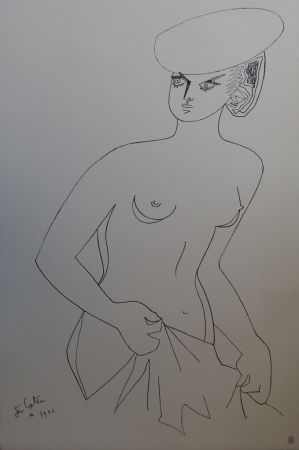 Litografía Cocteau - Actrice