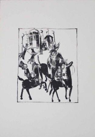 Litografía Pyroth - Adschîb, Gharîb und Kâsim machen sich auf den Weg