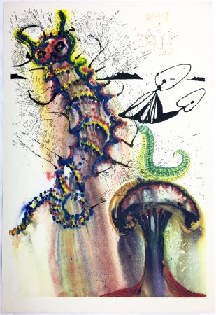 Heliograbado Dali - ADVICE FROM A CATERPILLAR (For Alice in Wonderland. New-Yok 1969).