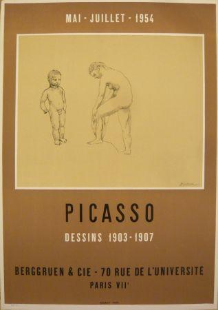 Cartel Picasso - Affiche exposition dessins 1903-1907 galerie Berggruen