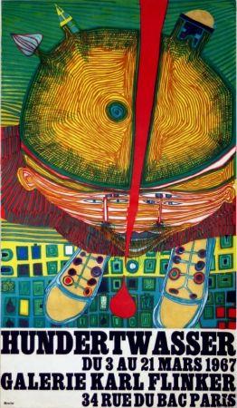 Litografía Hundertwasser - Affiche Exposition Galerie Karl Flinker 1967