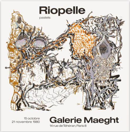 Cartel Riopelle - Affiche lithographique originale de la Galerie Maeght 1980.
