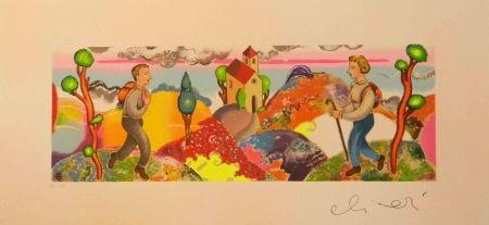 Serigrafía Alinari - ''Alla stessa ora ma in un cosmo analogo''