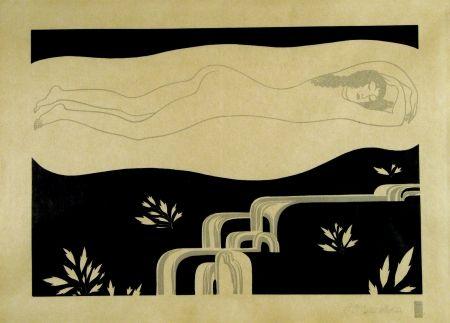 Grabado En Madera Czeschka - Am Bache (At the brook)