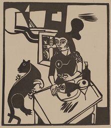 Grabado En Madera Campendonk - Am Tisch sitzende Frau mit Katze und Fisch / Woman Sitting at Table with Cat and FIsh