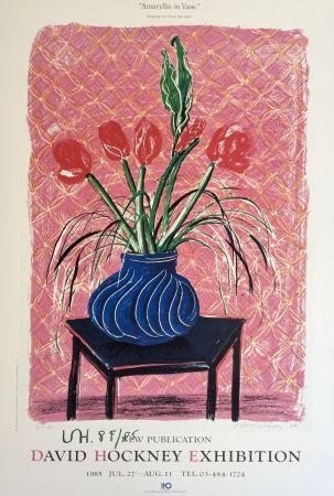 Litografía Hockney - 'Amaryllis in Vase' Hand Signed Exhibition Poster 1985