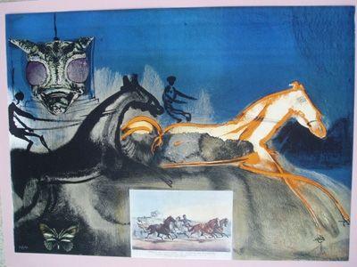 Litografía Dali - American Trotting Horses No. 2