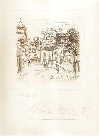 Grabado Utrillo -  Amitiés de Montmartre