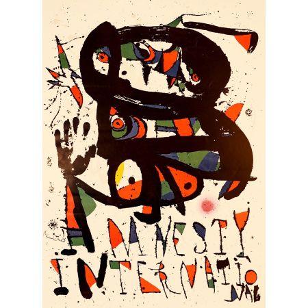 Litografía Miró - AMNESTY INTERNATIONAL 1975. Lithographie. Tirage de luxe sur Arches.