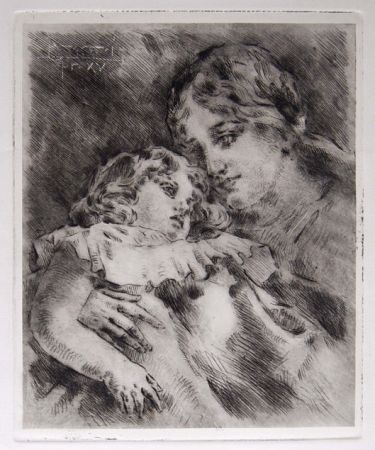 Grabado Conconi - AMOR MATERNO (Maternal Love)