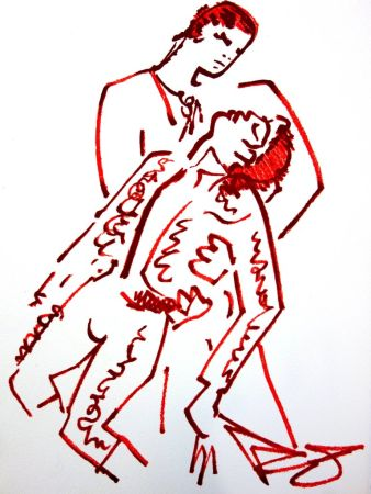 Litografía Cocteau - Amoureux