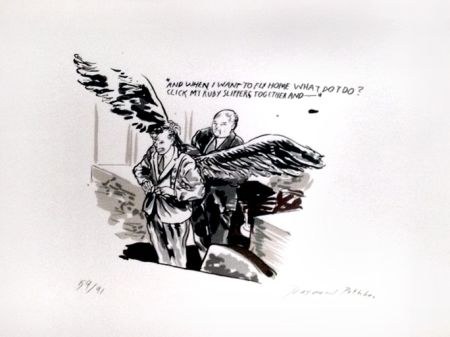 Serigrafía Pettibon - And When I Want To Fly Home What Do I Do