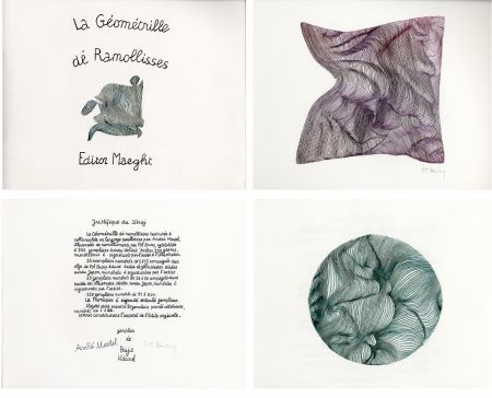 Libro Ilustrado Bury - André MARTEL : LA GÉOMÉTRILLE DÉ RAMOLLISSES. Textures paralloïdes d'André Martel vec dé mollimages de Pol Bury (1975)