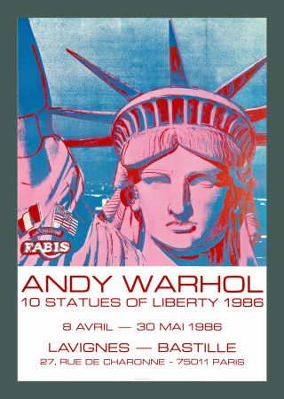 Litografía Warhol - Andy Warhol '10 Statues Of Liberty' 1986 Original Pop Art Poste