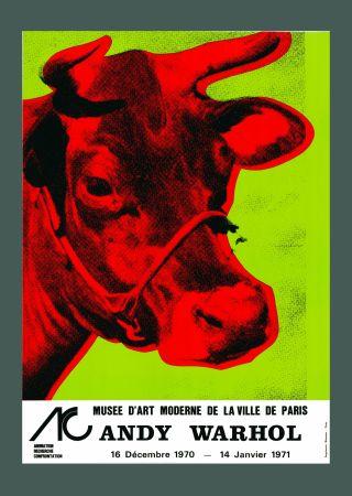 Litografía Warhol - Andy Warhol 'Cow Wallpaper (Green)' 1970 Hand Signed Original Pop Art Poster with COA