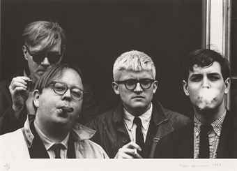 Fotografía Hopper - Andy Warhol, Henry Geldzahler, David Hockney and Jeff Goodman