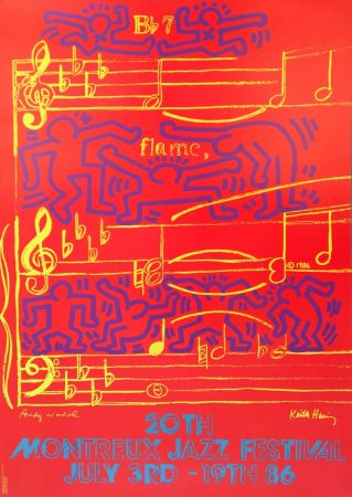 Litografía Warhol - Andy Warhol & Keith Haring '20th Montreux Jazz Festival' 1986 Plate Signed Original Pop Art Poster