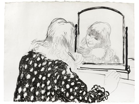 Litografía Hockney - Ann Combing Her Hair