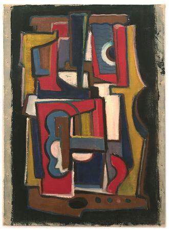 Sin Técnico Anonyme - Anonyme, dans le goût de Fernand LEGER.  Composition cubiste (1955)