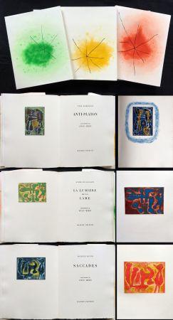 Libro Ilustrado Miró - ANTI-PLATON - LA LUMIÈRE DE LA LAME - SACCADES (Yves Bonnefoy, André Du Bouchet, Jacques Dupin (1962)