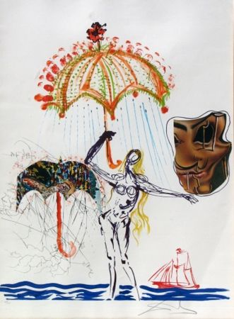 Litografía Dali - Anti-Umbrella with Atomized Liquid, from Imaginations and Objects of the Future