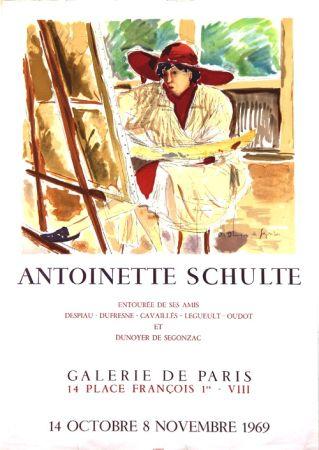Litografía De Segonzac - Antoinette  Schulte  Galerie de Paris