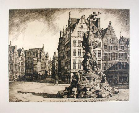 Aguafuerte Hebbelinck - Antwerpen - Grote Markt