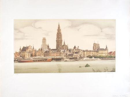 Aguafuerte Hebbelinck - Anvers : De Schelde