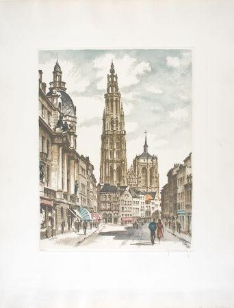 Aguafuerte Hebbelinck - Anvers : Suikerrui