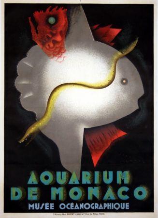 Litografía Carlu - Aquarium de Monaco