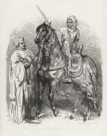 Grabado Chassériau - Arabe montant en selle / Cavalier arabe partant pour la guerre