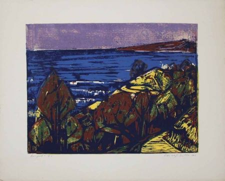 Linograbado Mazsaroff - Aranypart (Golden Shore) (Lake Balaton)