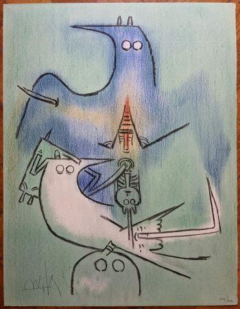 Litografía Lam - Arbre de plumes