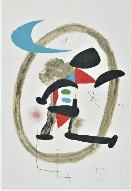 Litografía Miró - Arlequin Circonscrit