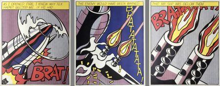 Litografía Lichtenstein - As I Opened Fire (Hand Signed) Triptych 3-Piece Set