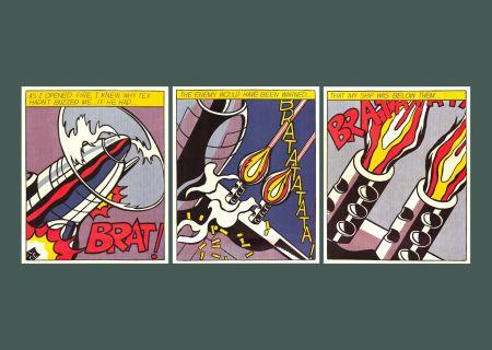 Litografía Lichtenstein - 'As I Opened Fire' (Triptych) Pop Art Poster Print Set